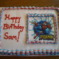 Spiderman Birthday Cake Chocolate Fudge cake with buttercream icing and edible Spiderman Image