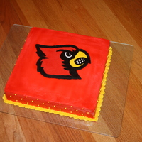 Louisville Cardinals Cake This cake was made for my Louisville Cardinals fan's 7th birthday. Used FBCT technidyne on the cardinal.