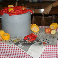 Crawfish Boil Cake  My sisters and I did this cake last minute for a surprise 70th birthday party for my Dad. He grew up in Louisiana and is Cajun. The cake is...