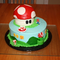 Super Mario Brothers This cake was a problem cake. It was one of those that everything just went wrong. Anyway, it is buttercream with fondant details. The top...