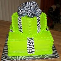 Aniston's B-Day Cake 2009 Customer asked for Lime Green & Zebra Stripes. White cake, all decorator's icing.