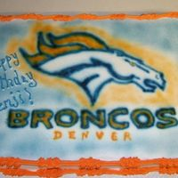 Broncos All buttercream. Airbrushed broncos.
