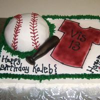 Baseball half ball pan and fondant bat.