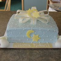Stars And Moon Baby Shower Cake   cake is buttercream- bow, booties, stars and moons made out of fondant