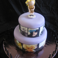 Lady Gaga 18Th Birthday Cake This cake is a 2 tier marble cake with ganache and fondant. Each tier has edible images of various Lady Gaga costumes around it. The...