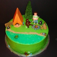 Camping/nature Themed Birthday My son's friend is having a camping/nature themed party today. The cake has him (roasting marshmallows), his dog, and his little...