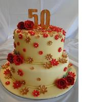 50Th Anniversary This cake was made for a 50th wedding anniversary. The couple is Chinese so they wanted me to make a red/gold cake (for good luck!) and...