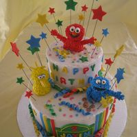 Sesame Street Cake for a little boy's 3rd b'day. Chocolate and vanilla cakes covered in buttercream icing. Decorations, including the...