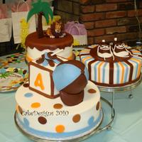 "King Of The Jungle Baby Shower 7,9,11"" rounds, 4x4 block iced in BC with fondant deco and GP figures."