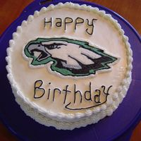 Philadelphia Eagles My 3rd try with a BCT. The writing is scary! A practice cake anyway.