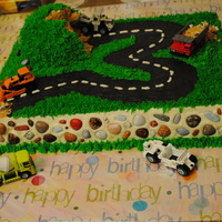 3Rd Birthday Construction Cake I made this cake for my son's 3rd birthday, he loves construction trucks so I went with it. All buttercream with chocolate rocks and...