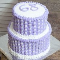 Purple Basketweave Birthday Cake This was my first attempt at basketweave. It is for my mother's 68'th birthday. Top layer is devils food with buttercreme and the...