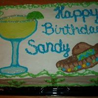 Margaritaville Cake  I was asked to do a Margaritaville themed cake, she was having her party at a Mexican restaurant and she wanted a sombrero and a margarita...