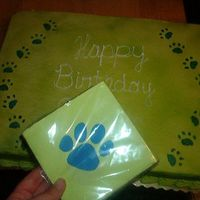 Paw Print Cake The customer wanted a cake to go along with the theme of these napkins, so I made this cake. 1/2 sheet.