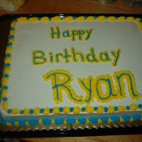 Yellow & Blue Cake   All the customer requested was a blue and yellow cake, so this is what I came up with.