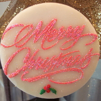 Merry Christmas Stenciled Cookie   NFSC with Tobia's glaze and Royal Stenciled Merry Christmas