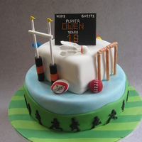 Sports Mad 18Th Birthday 18th birthday cake for a British sports mad boy!Sports depicted are rugby, field hockey, cricket, pool and badminton