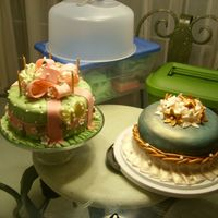 Two Cakes In 1 Day! Both of these cakes were made in the same day! Both cakes were baked the previous night at 1:24 am. Mother's b-day cake was finnished...