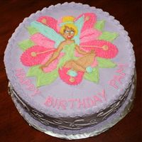 Tinkerbell Cake I FREE HANDED TINKERBELL. I WANTED TO DO A FROZEN BUTTERCREAM TRANSFER, BUT CHICKENED OUT.
