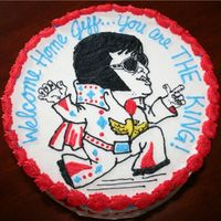 Elvis Military Welcome Home Cake THIS WAS DONE FOR A MARINE RETURNING HOME FROM IRAQ. HIS WIFE WANTED TO DO SOMETHING A LITTLE DIFFERENT, AND SO WE DID AN ELVIS CAKE FOR...