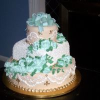 Teal And Sea Foam Colored Wedding Cake