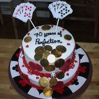 Casino Theme  Made this for a friends parents 70th birthday. They loved it so much that it ended up being the center piece. Chocolate and white cakes...