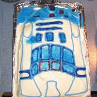 R2-D2 This cake was made by me for my son Joey's 6th birthday. I used the classic R2-D2 Wilton pan. It is a butter yellow cake mix with...