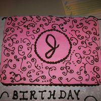 "Scrollwork  Sheet cake - pink Scrollwork in brown - the girls name started with a ""J: tha, therefore that is where the ""J"" on the cake..."