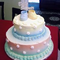 3 Tier Pastel Colors Baby Shower Cake All whipped icing.