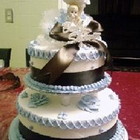 Chocolate Brown And Baby Blue Classy Shower Cake I love the color combination of this cake, I think it is very classy. This was all butter cream with baby blue details and brown satin...