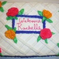 Welcome A cake I made to welcome a new assistant manager to our store. All buttercream. Wasn't very happy with the writing and the boarder...