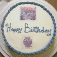 Asian Birthday Cake I made this using the transfer sheet that go through the computer. I was an image that I had stamped and colored. My only question is how...