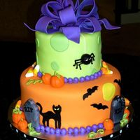 "Halloween Birthday Party Cake Did this cake for a neighbor, who's daughter was having a ""Halloween themed"" birthday party. This is the first cake I'..."