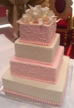Pink And White Bow Wedding Cake Cake selected by brides sister! Chosen from previous design I've done (several times!), only she wanted tieres alternated pink and...
