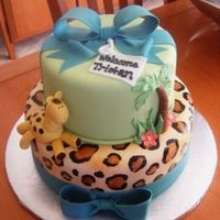 "Jungle Themed Baby Shower 10"" and 6"" round cakes, done to match the colors and pattern of baby bedding. Giraffe was one of the animals in the print. All..."