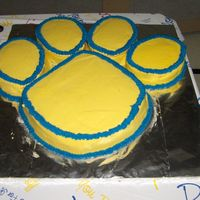 "Bear Cat Paw This cake was for my cousins graduation party. This was one of many cakes that I did. This is the school maskot. This is a 12"" round..."