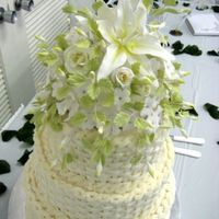White And Green Floral Wedding Cake
