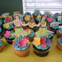 Hula Girls Gumpaste decorations, coconut IMBC, chocolate and butter cupcakes