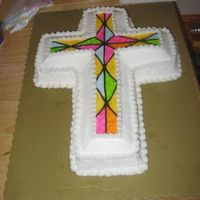 Communion vanilla cross Iced in BC and tinted piping gel