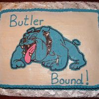Butler Bound  Graduation cake for high schooler headed to Butler college. Their mascot is a bulldog and their colors are blue and white. Bulldog is a BTC...