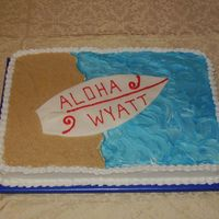Surfboard Baby Shower Cake The theme of the shower was surfboards, and they just wanted something simple. The sand is vanilla wafer crumbs, while the ocean is...