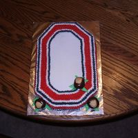 Go Bucks! Ohio State Block O with b/c. peanut butter buckeyes used for garnish.