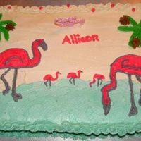Flamingo Cake My little girl just loves Flamingos. I made this for her 5th birthday. Used clipart for my pattern. According to my daughter it is 2 mommy...