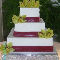 Square Wedding Cake With Orchids