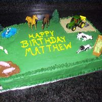 Down On The Farm This farm cake was made for a little boy turning 3, who loves all types of farm animals!
