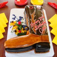 "Cari Rae's 18Th Birthday -- Cowboy Boot Cake  This cake is carved from a double layer 11x15"" sheet cake. A strip was cut from the long edge, and turned to make the foot of the boot..."