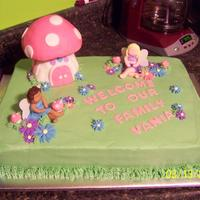 Welcome To The Family For a little girl who was adopted the cake is iced in buttercream the house is cereal treats covered in fondant and all the other...