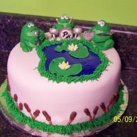 Frog Cake This cake is all done in fondant it had to travel all the way from Ohio to Florida for my brothers birthday.