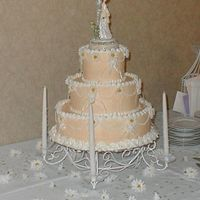 My First Wedding Cake 3 tiers 6, 10, 14, round ivory with white trimmings classic icing.