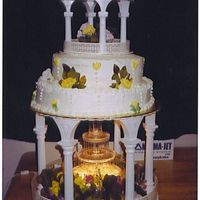 Cascading Tier Cake This was my first Tier cake that I did. I really don't care for the colors on it but those wwere the only decorations I had. White...